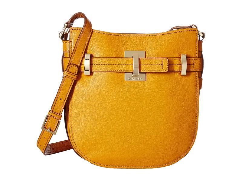 カルバンクライン レディース ハンドバッグ バッグ Faye Goat Leather Messenger Saffron