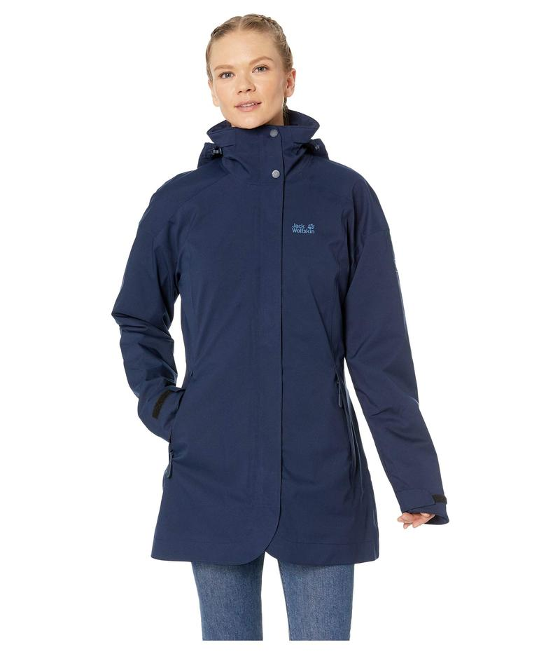 ジャックウルフスキン レディース コート アウター Ruunaa 3-in-1 Waterproof Coat Midnight Blue