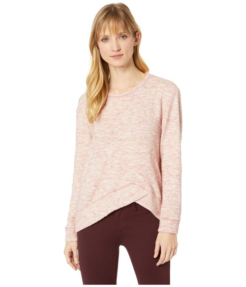 モッドドック レディース ニット・セーター アウター Warm and Cozy Sweater Crew Neck Pullover with Overlapped Hem Pink