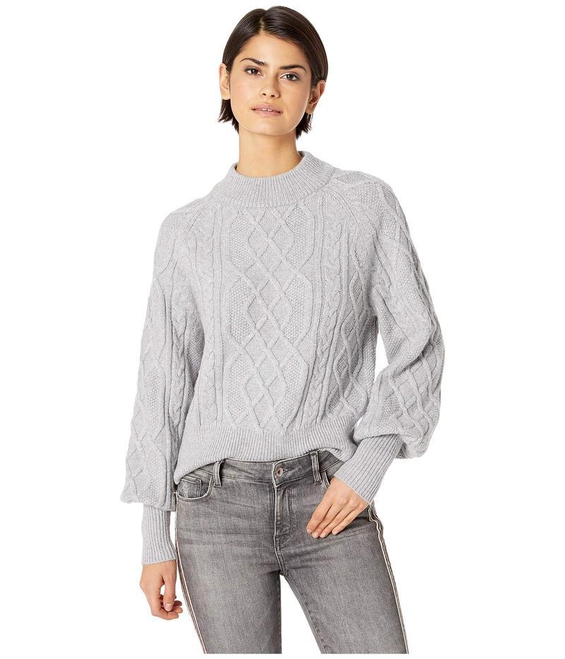 ワンステイト レディース ニット・セーター アウター Crew Neck Mixed Cable Sweater Light Heather Grey