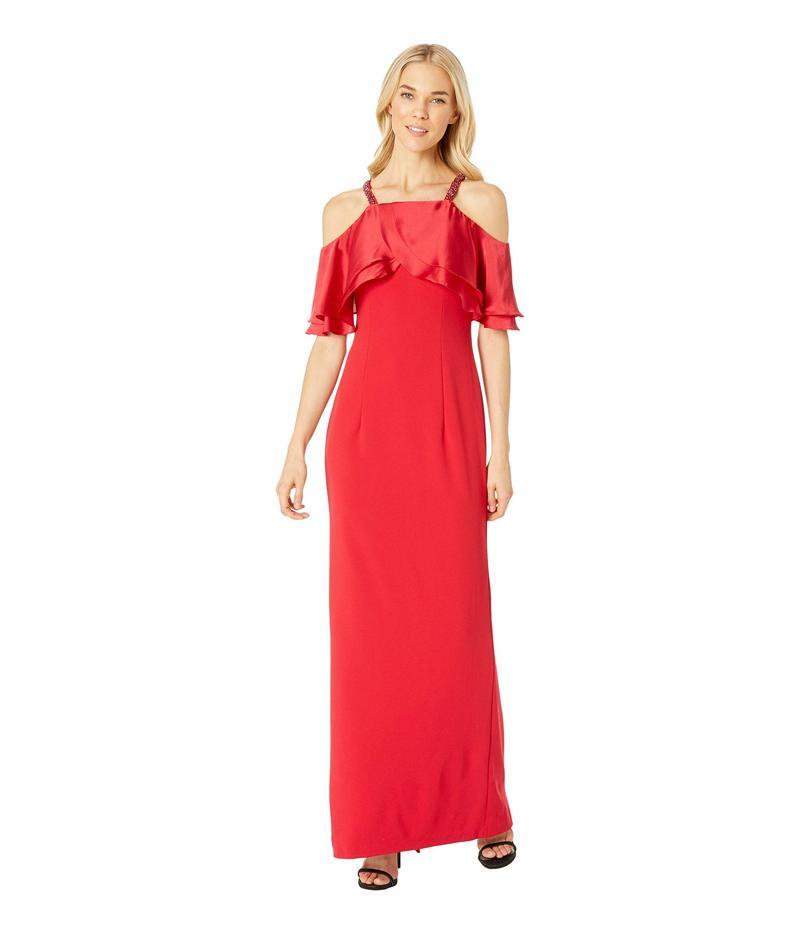 アドリアナ パペル レディース ワンピース トップス Long Crepe Dress Beaded Straps Red