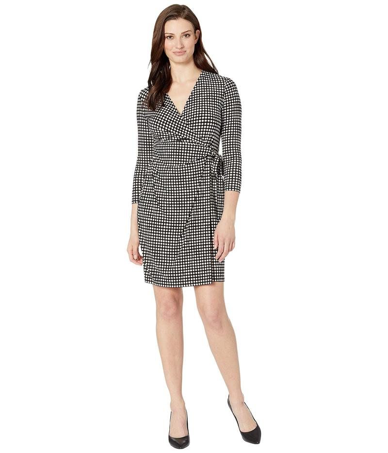アンクライン レディース ワンピース トップス Pearly Dot Printed Ity Classic Wrap Dress Anne Black/Anne White