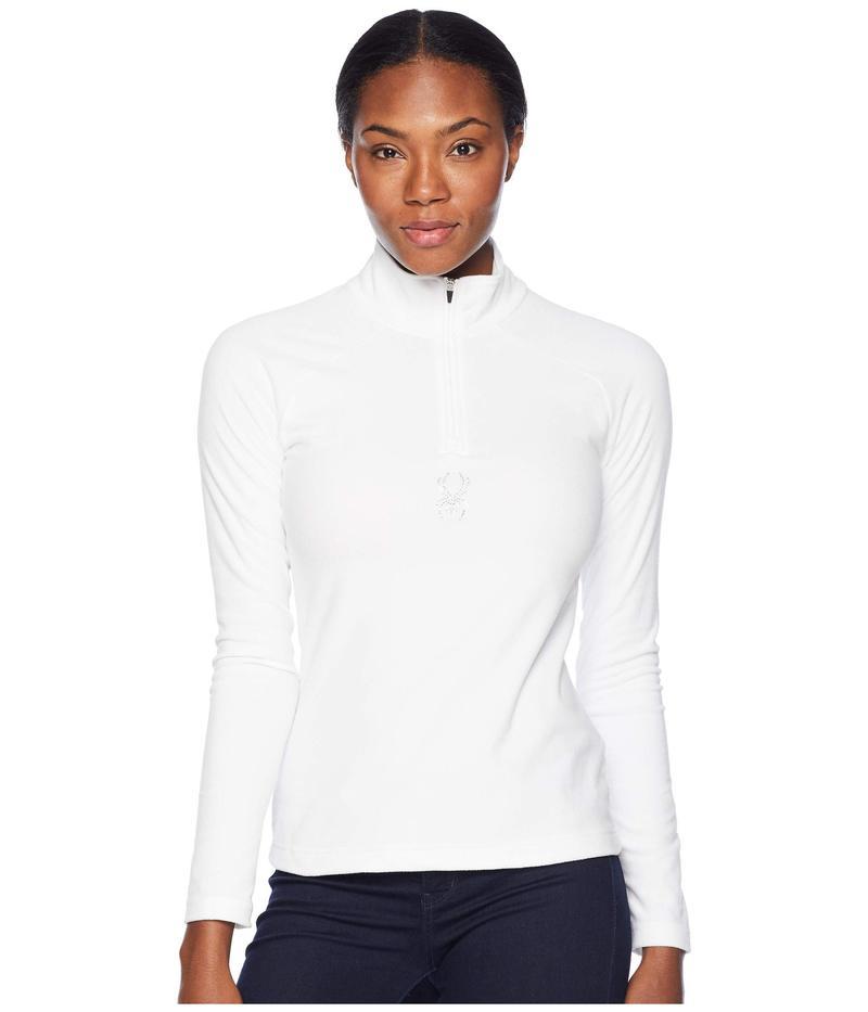 スパイダー レディース コート アウター Shimmer Zip T-Neck Top White/White