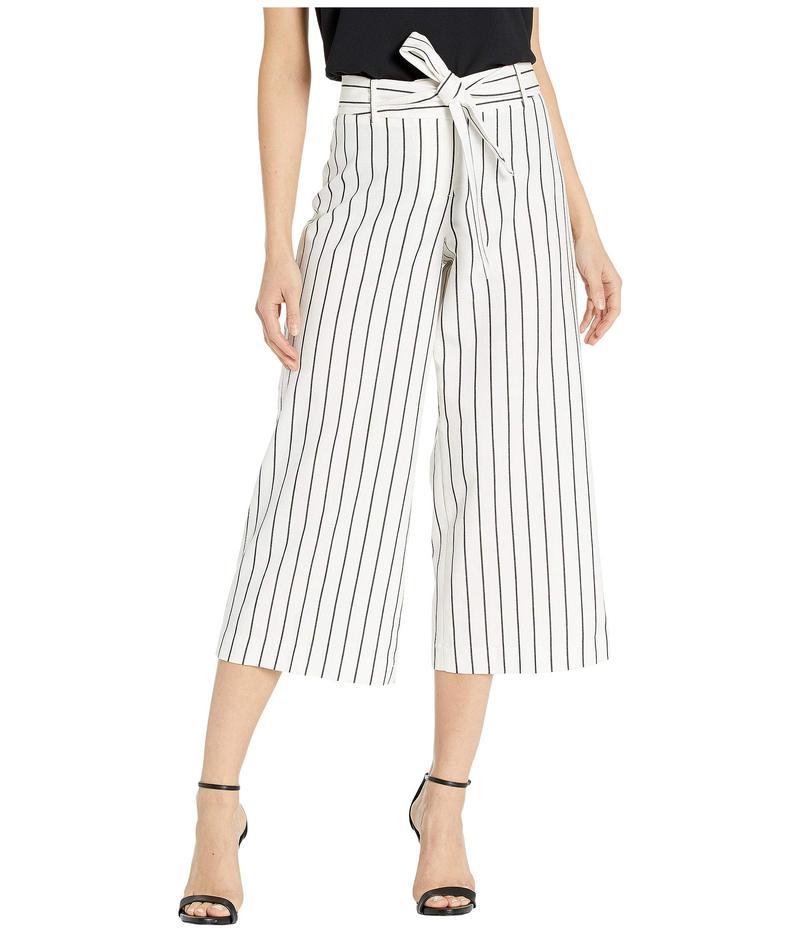 タハリ レディース カジュアルパンツ ボトムス Cropped Wide Leg Pants w/ Self-Tie Ivory/Black Stripe