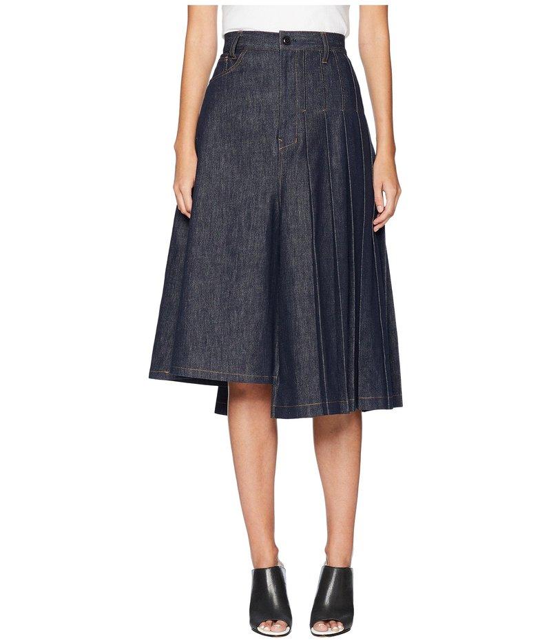 ワイズバイヨウジヤマモト レディース スカート ボトムス S-Asymmetry Pleats Denim Skirt Indigo