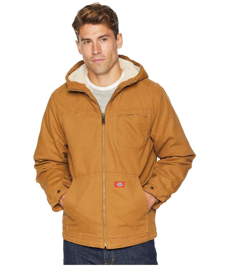 ディッキーズ メンズ コート アウター Sanded Duck Sherpa Lined Hooded Jacket Brown Duck