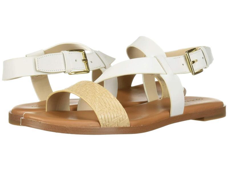コールハーン レディース サンダル シューズ Findra Strappy Sandal White Leather/Nude Woven
