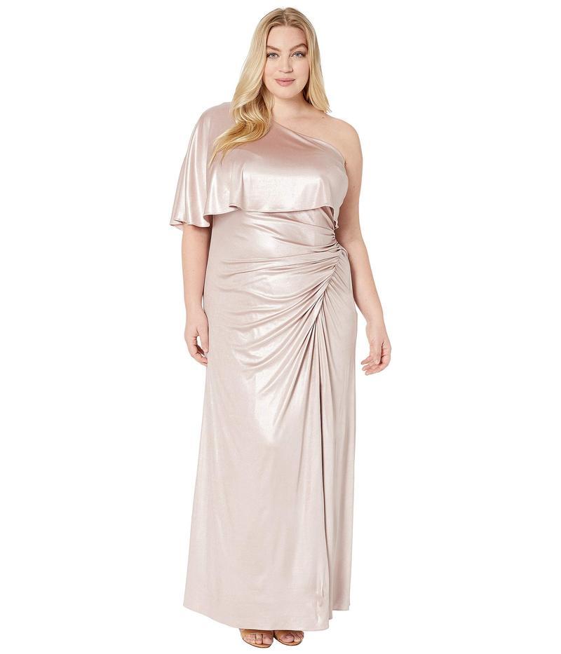 アドリアナ パペル レディース ワンピース トップス Plus Size Metallic Draped Evening Gown Dusted Petal