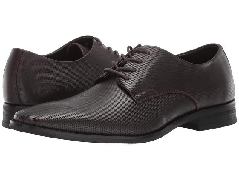 カルバンクライン メンズ オックスフォード シューズ Ramses Dark Brown Small Grid Emboss Leather