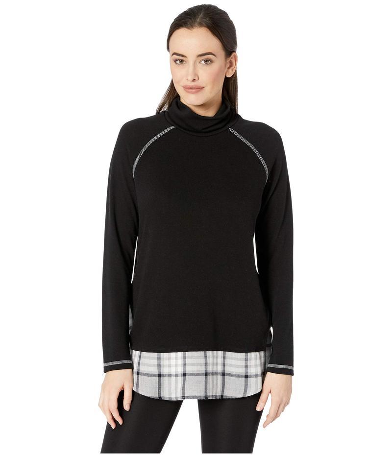 カレンケーン レディース ニット・セーター アウター Plaid Hem Turtleneck Sweater Black
