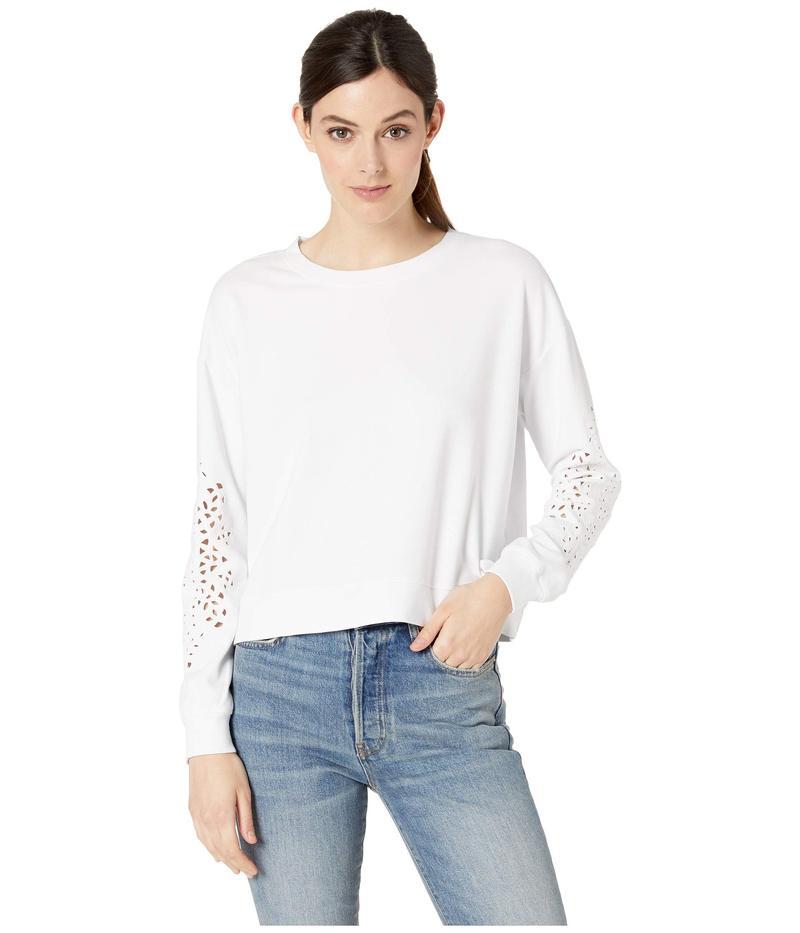 モッドドック レディース パーカー・スウェット アウター Cotton Interlock Sweatshirt with Embroidered Sleeves White