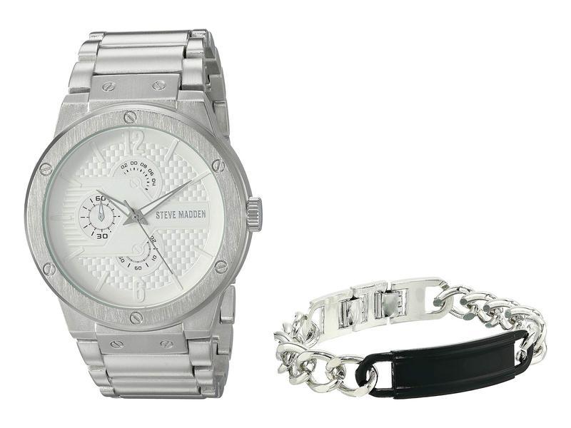 スティーブ マデン メンズ 腕時計 アクセサリー Multifunctional Watch with Black ID Plate Chain Bracelet Set SMWS036 Black/White/Silver