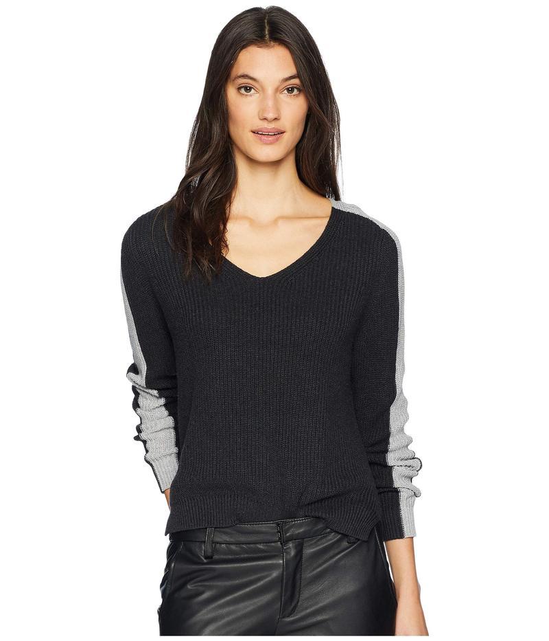 マイケルスターズ レディース ニット・セーター アウター Cotton Knits V-Neck Color Block Pullover Charcoal/Heather Grey