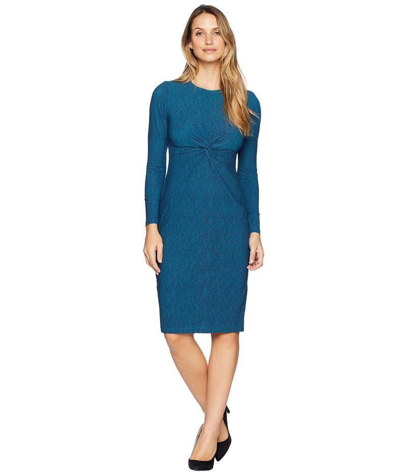 マギーロンドン レディース ワンピース トップス Space Dye Knit Knot Front Twist Midi Dress Turquoise