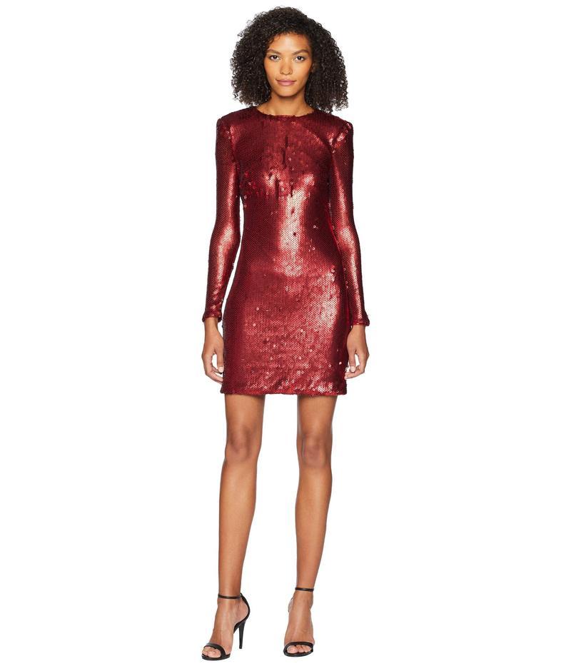 モニーク ルイリエ レディース ワンピース トップス Long Sleeve Sequin Cocktail Dress Dark Red