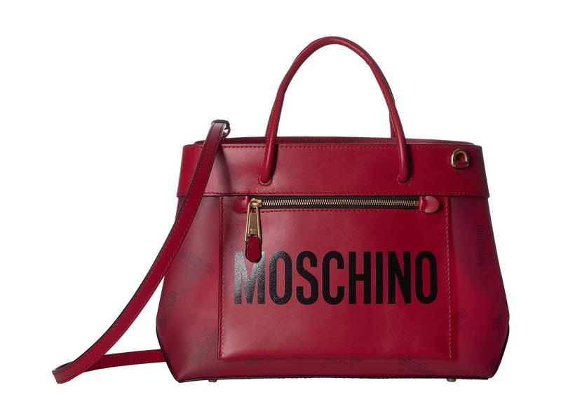 モスキーノ レディース ハンドバッグ バッグ Front Zip All Over Logo Satchel Red Eco-Leather