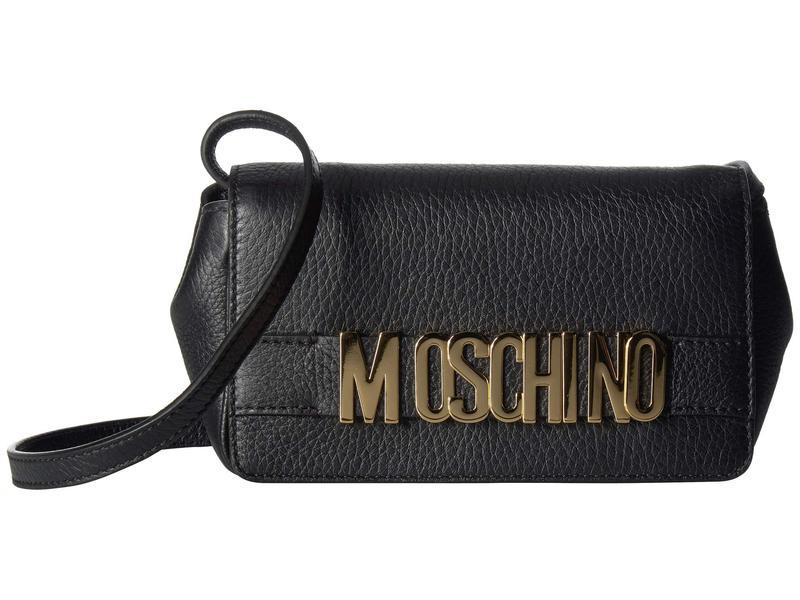 モスキーノ レディース ハンドバッグ バッグ Small Logo Crossbody Black Leather