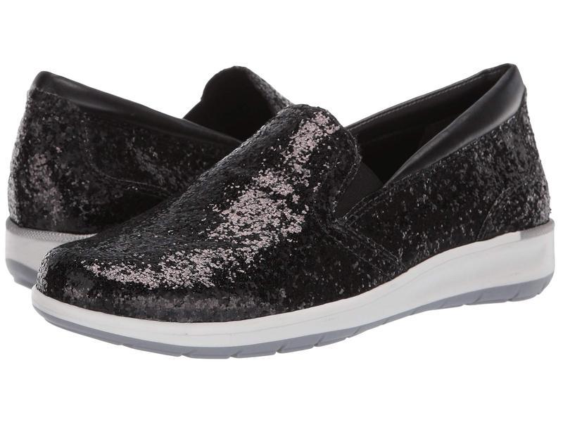 ウォーキング クレイドル レディース スニーカー シューズ Orleans Black Glitter Fabric
