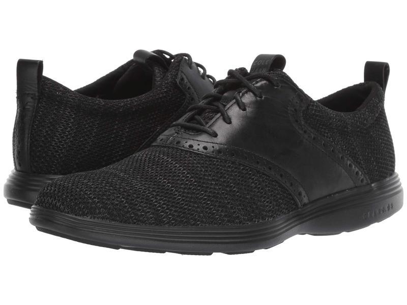 コールハーン メンズ オックスフォード シューズ Grand Tour Knit Oxford Black/Black