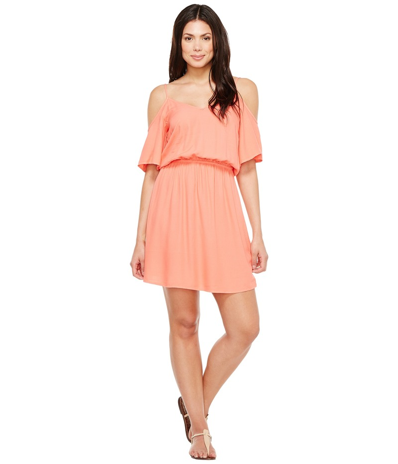 スプレンディット レディース ワンピース トップス Rayon Crosshatch Cold Shoulder Dress Tropical Peach