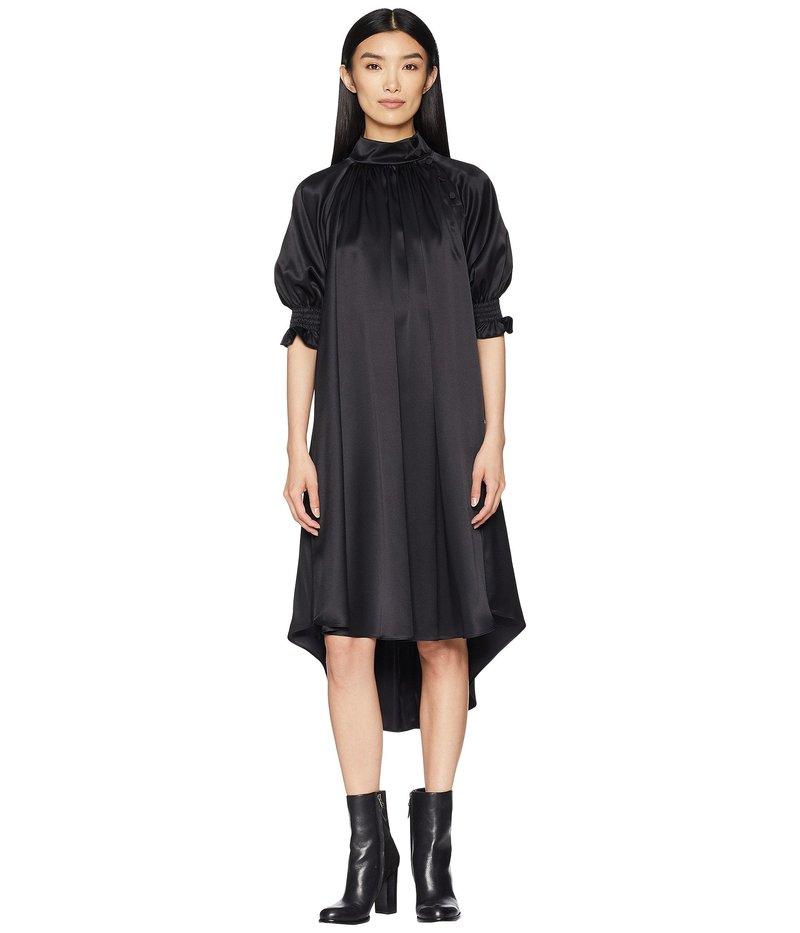 アダム リピズ レディース ワンピース トップス Silk Charmeuse Mock Neck Dress w/ Smocked Sleeves Black