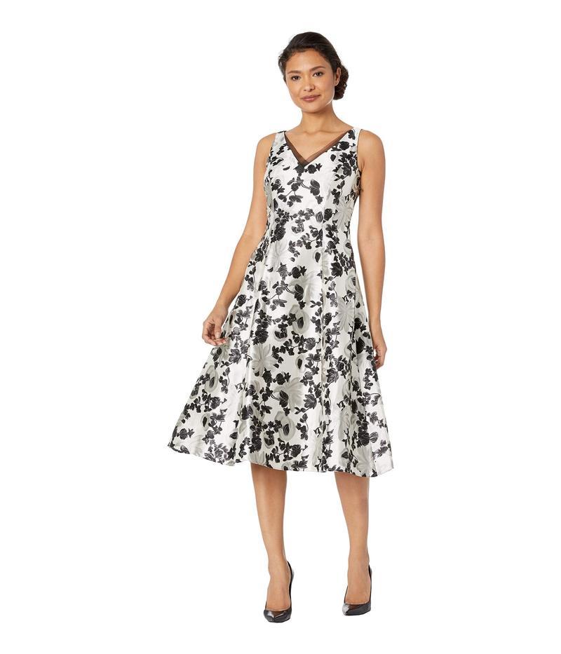 アドリアナ パペル レディース ワンピース トップス Floral Metallic Jacquard Tea-Length Dress White/Black