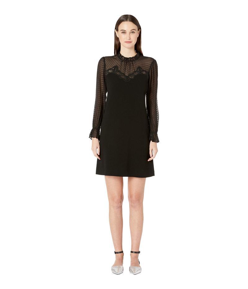 レベッカテイラー レディース ワンピース トップス Long Sleeve Crepe Lace Dress Black