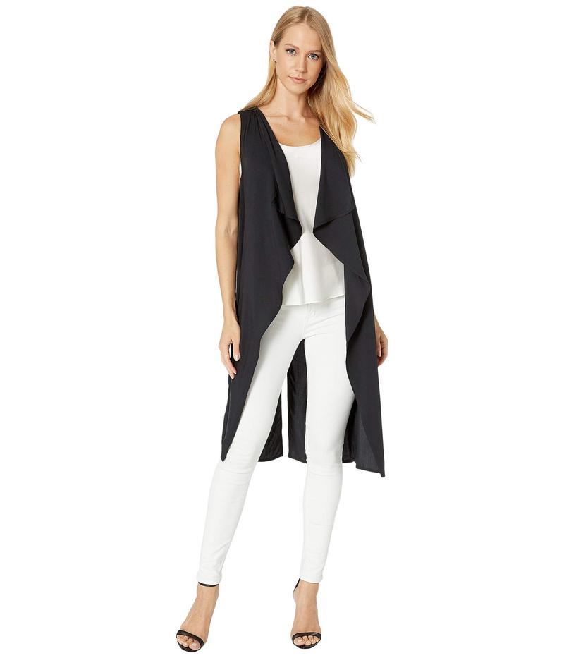 ビーシービージーマックスアズリア レディース コート アウター Sleeveless Drape Front Vest Black