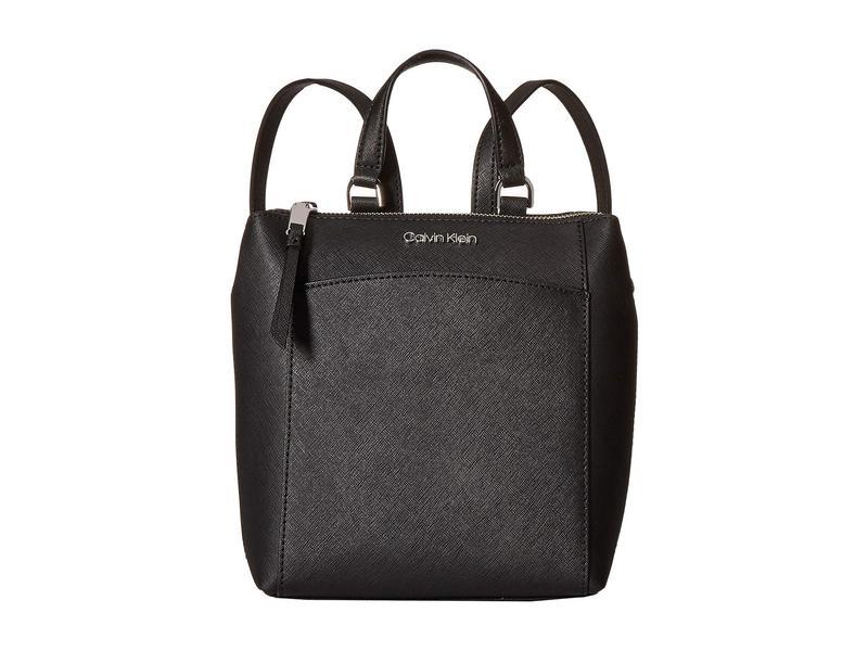 カルバンクライン レディース バックパック・リュックサック バッグ Hayden Saffiano Leather Backpack Black/Silver