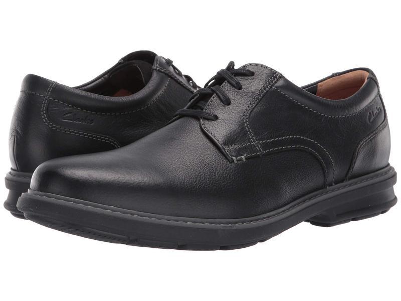 クラークス メンズ オックスフォード シューズ Rendell Plain Black Leather