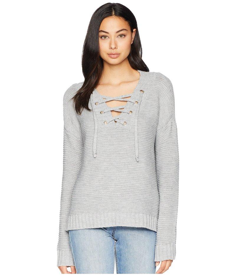 ジャック バイ ビービーダコタ レディース ニット・セーター アウター Hey Ms. Carter Rib Stitch Lace-Front Sweater Light Heather Gray