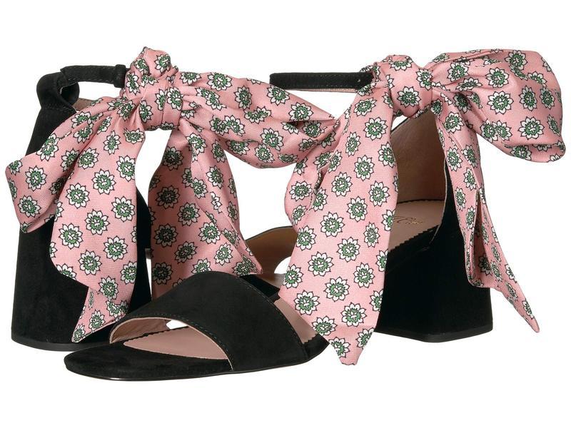 ジェイクルー レディース ヒール シューズ Suede Ankle Tie Penny Sandal w/ Pink Tie Black