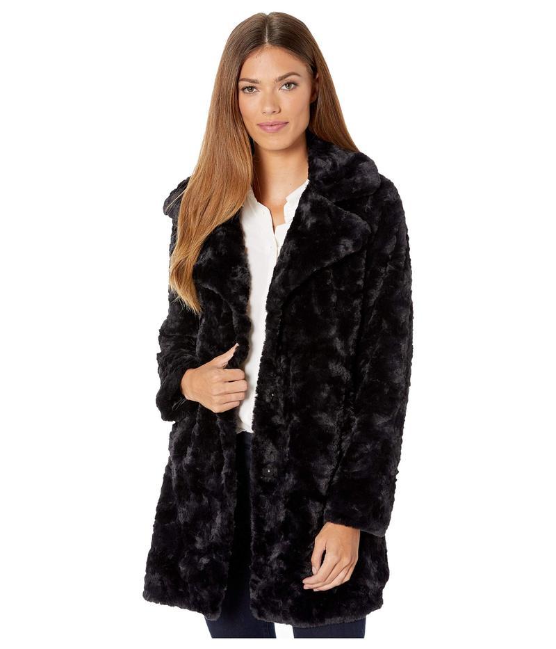 ケネスコール レディース コート アウター Notch Collar w/ Faux Fur Black