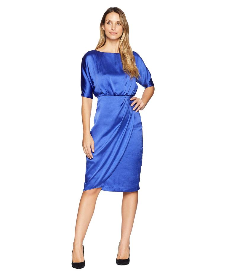 マギーロンドン レディース ワンピース トップス Hammered Satin Cocktail Blouson Dress Empire Blue