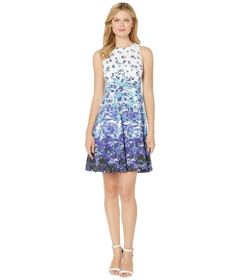 マギーロンドン レディース ワンピース トップス Printed Cotton Fit & Flare Dress Soft White/Purple