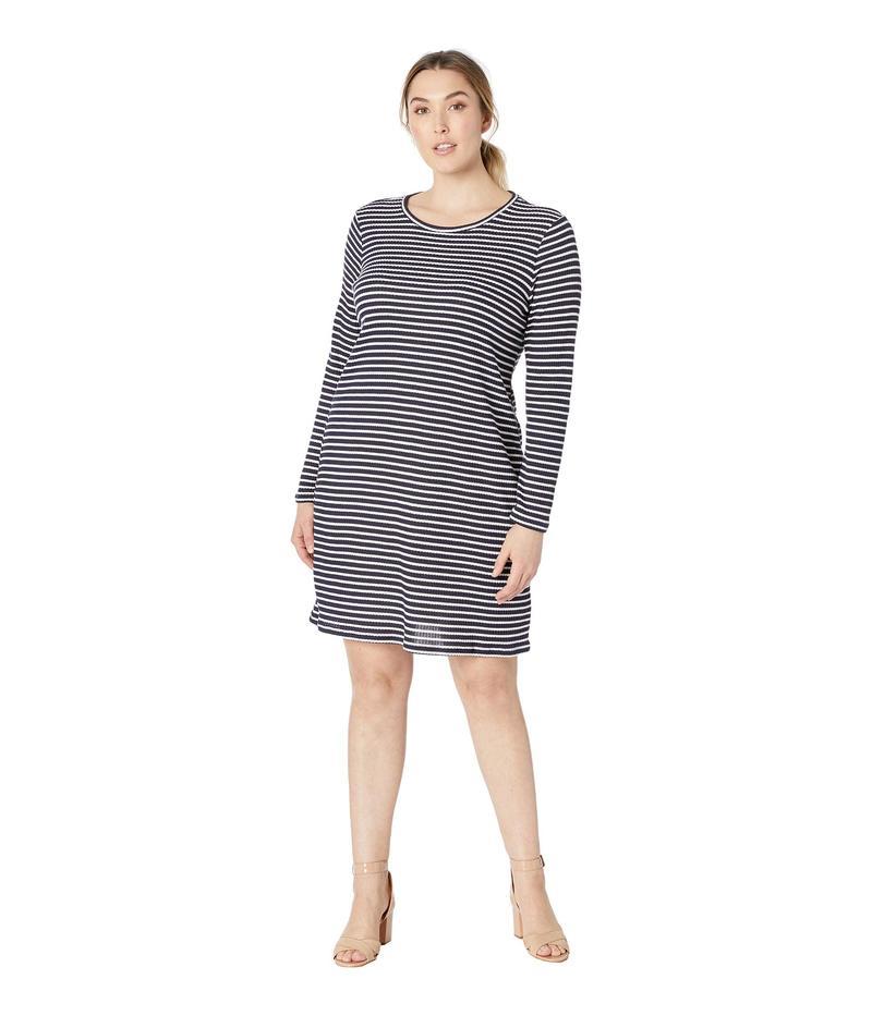 マイケルコース レディース ワンピース トップス Plus Size Long Sleeve Striped Tee Dress True Navy/White