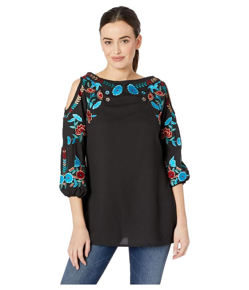 スカーリー レディース シャツ トップス Paula Cold Shoulder Embroidered Top Black