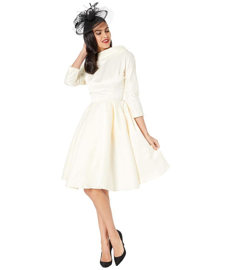 ユニークビンテージ レディース ワンピース トップス 1950s Style Satin Sleeved Lana Bridal Dress Ivory Cream