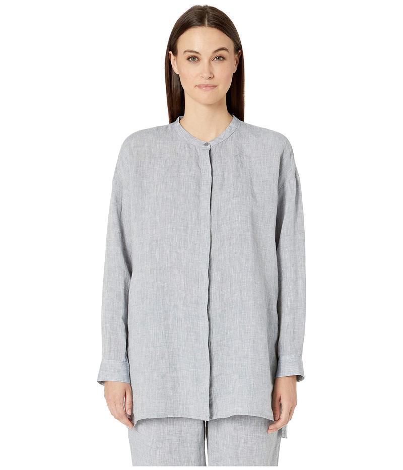 エイリーンフィッシャー レディース シャツ トップス Yarn-Dyed Handkerchief Organic Linen Mandarin Collar Boxy Shirt Chambray