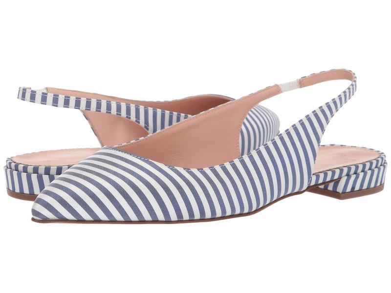 ジェイクルー レディース サンダル シューズ Pointy Toe Slingback Flat in Stripe Blue/White