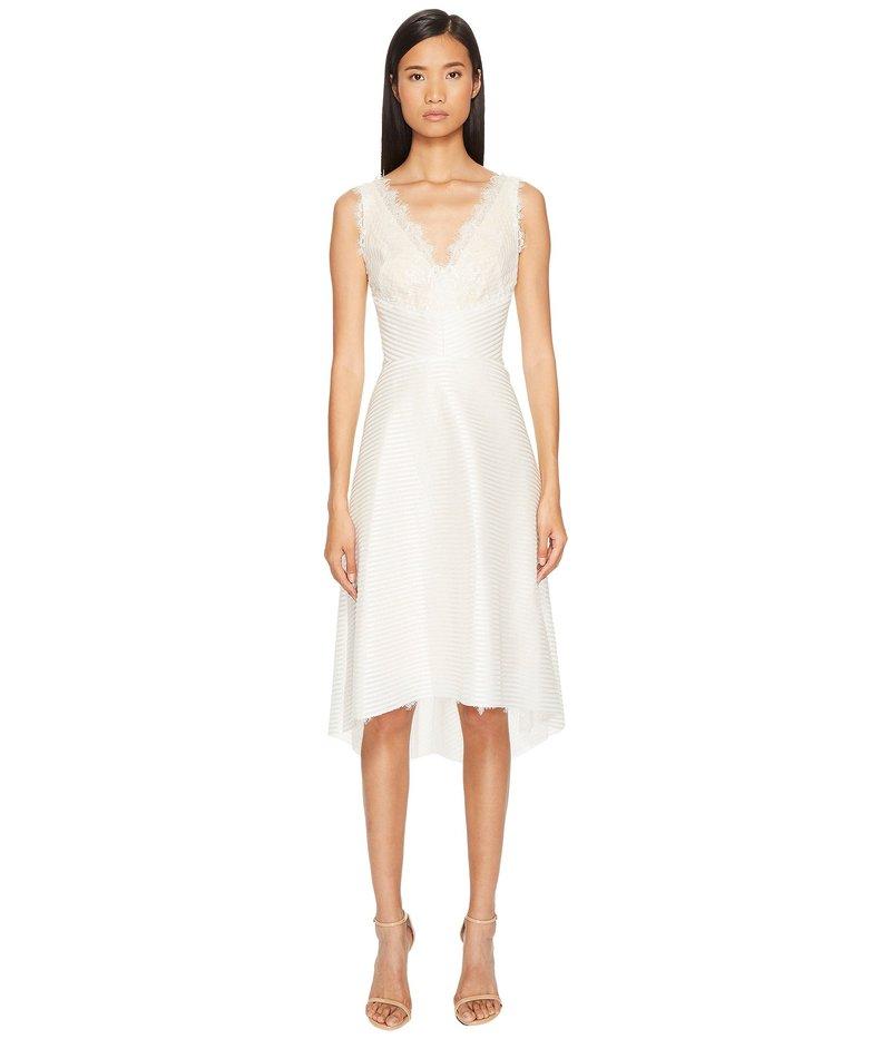 マルケサノット レディース ワンピース トップス Striped Neoprene V-Neck High-Low Lace Dress Ivory