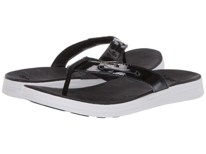 スペリー レディース サンダル シューズ Adriatic Thong Skip Lace Leather Black Patent