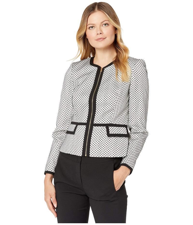 カルバンクライン レディース コート アウター Novelty Zip Front Peplum Jacket Black/Cream