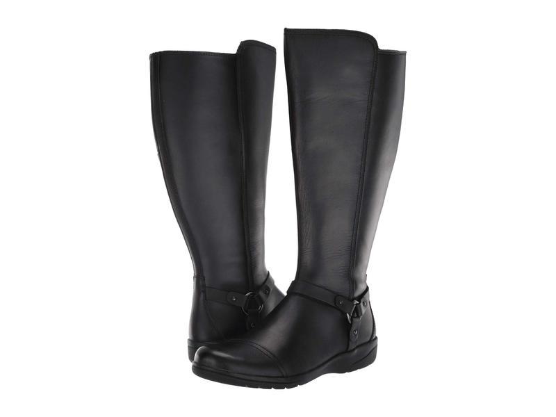 クラークス レディース ブーツ・レインブーツ シューズ Cheyn Lindie Wide Shaft Black Leather/Synthetic Combi