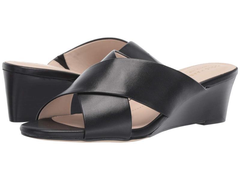 コールハーン レディース ヒール シューズ 50 mm Adley Grand Wedge Sandal Black Leather/Black Stack