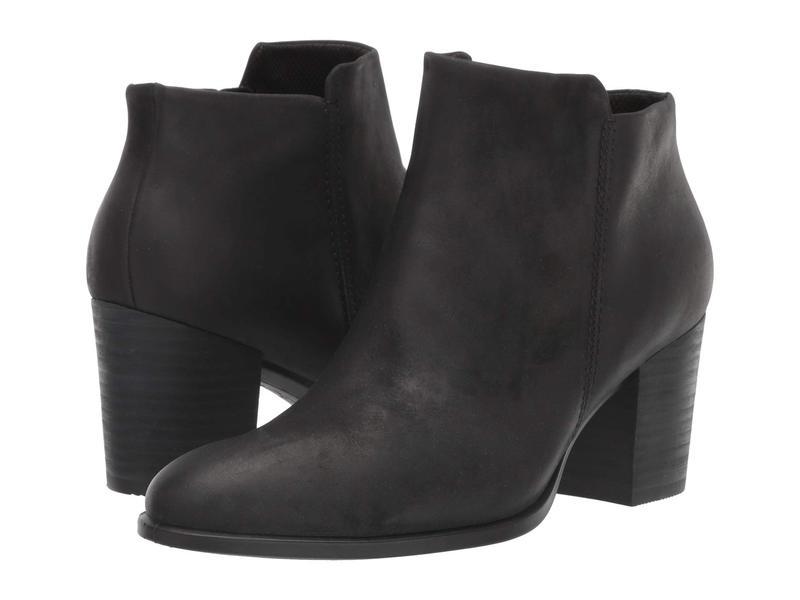 エコー レディース ブーツ・レインブーツ シューズ Shape 55 Stacked Heel Ankle Boot Black Nubuck Leather