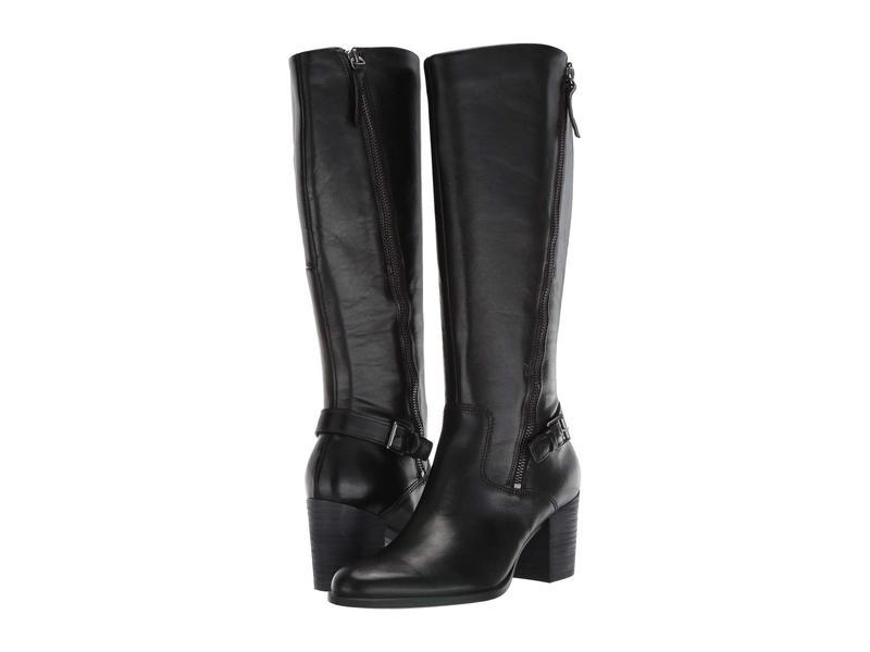 エコー レディース ブーツ・レインブーツ シューズ Shape 55 Stacked Heel Tall Boot Black Cow Leather