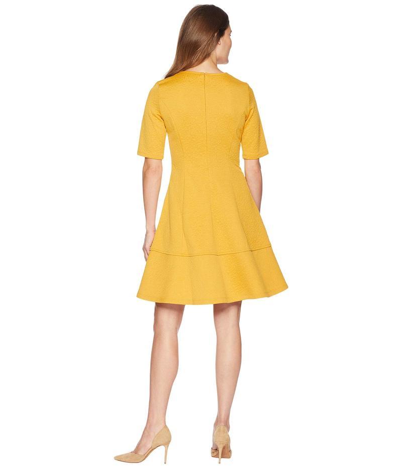 ロンドンタイムス レディース ワンピース トップス Jacquard Elbow Sleeve FitFlare Dress GoldtrxBdhCsQo