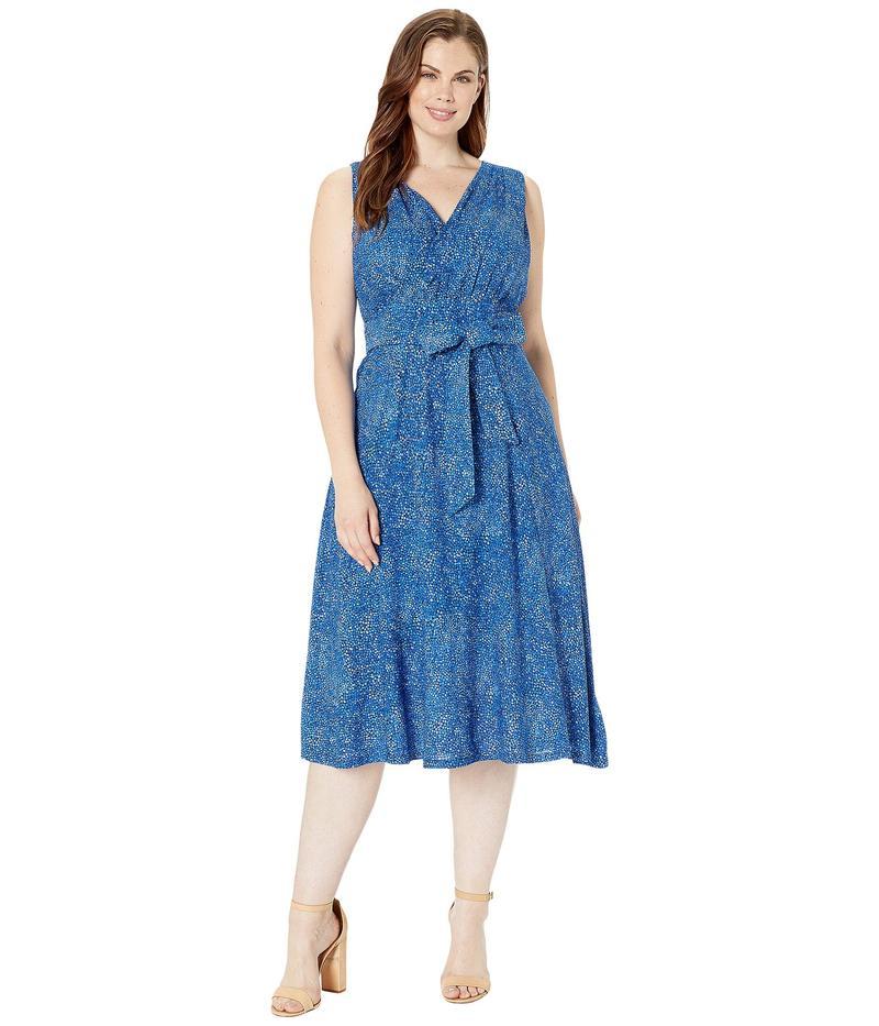 マイケルコース レディース ワンピース トップス Plus Size Mosaic Print Smocked Dress True Navy