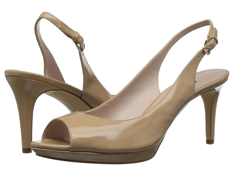 ナインウェスト レディース ヒール シューズ Gabrielle Slingback Peep Toe Pump Natural Sleek Patent PU